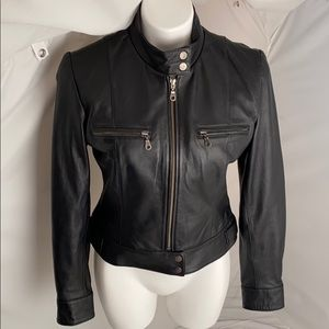 Whet Blue black fitted leather moto jacket M